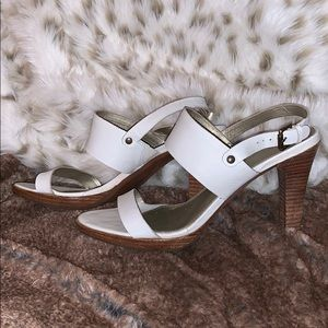Unisa white leather heels